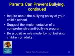parents can prevent bullying continued