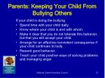 parents keeping your child from bullying others