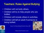 teachers rules against bullying