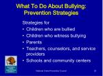 what to do about bullying prevention strategies