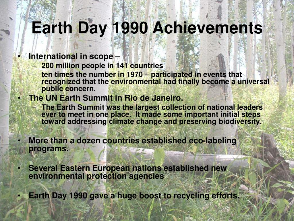 Earth Day 1990 Achievements