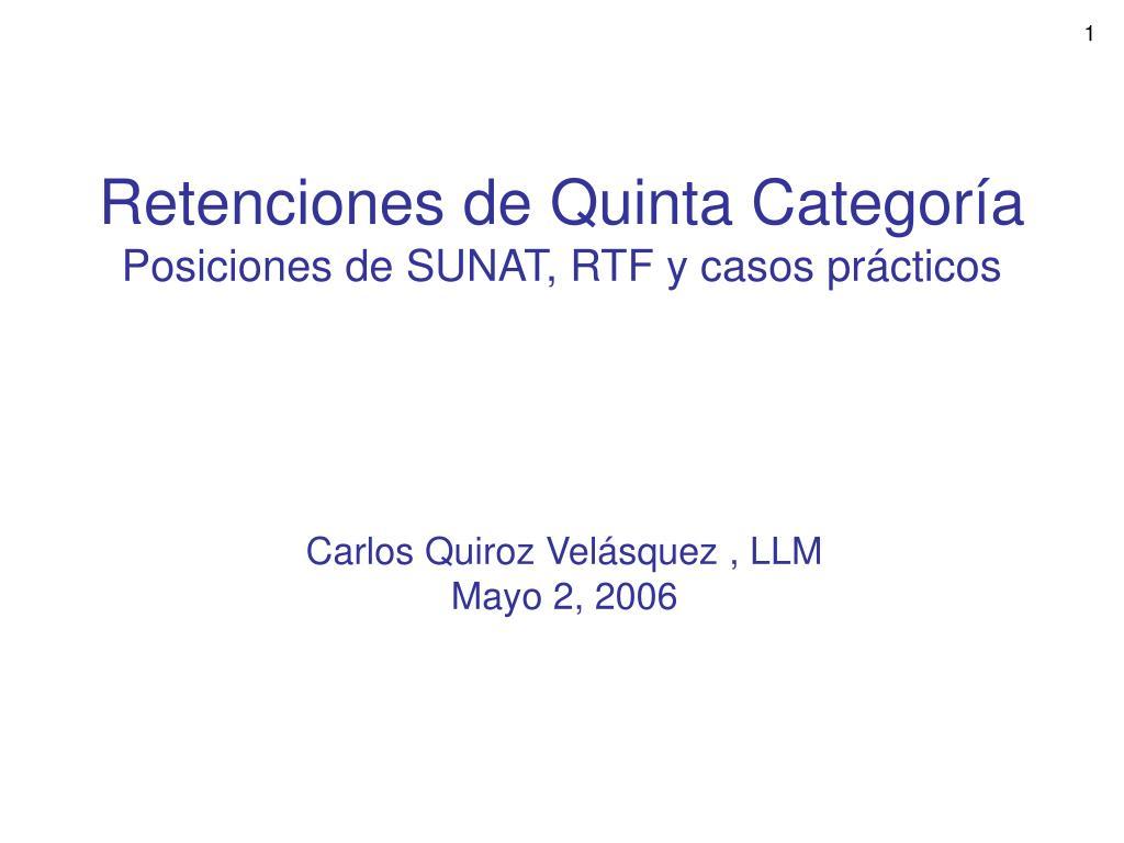 retenciones de quinta categor a posiciones de sunat rtf y casos pr cticos l.