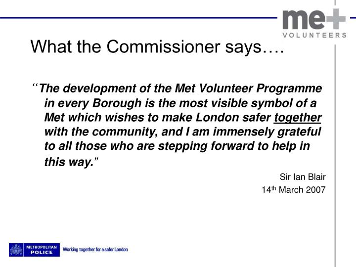 What the commissioner says
