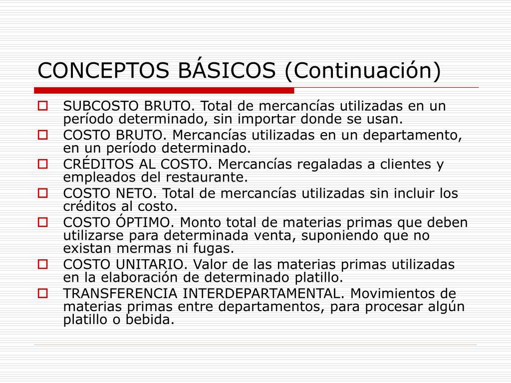CONCEPTOS BÁSICOS (Continuación)