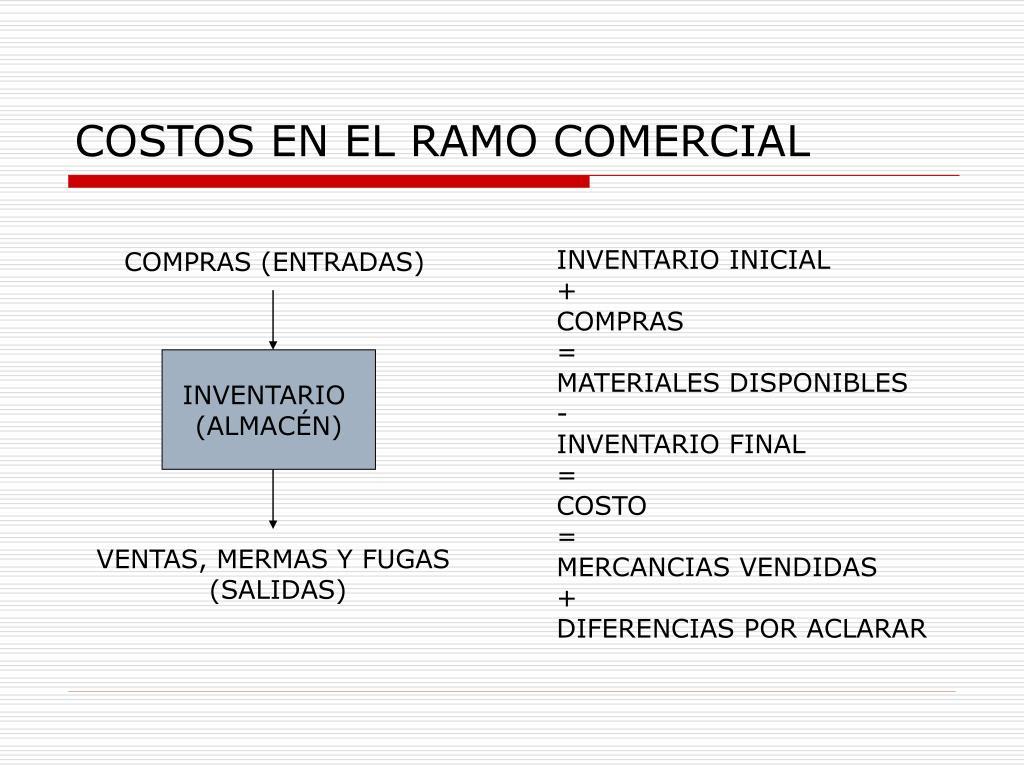 COSTOS EN EL RAMO COMERCIAL