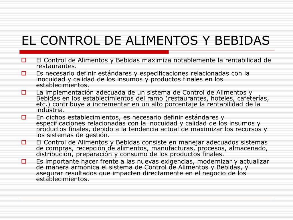 EL CONTROL DE ALIMENTOS Y BEBIDAS