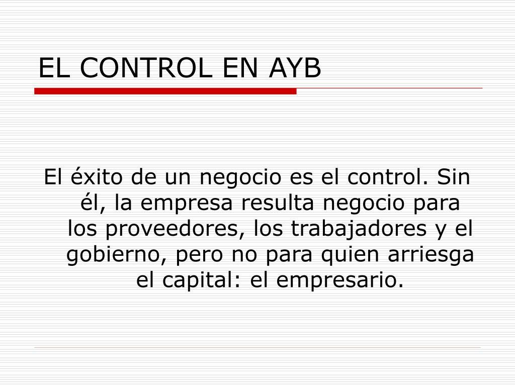 EL CONTROL EN AYB