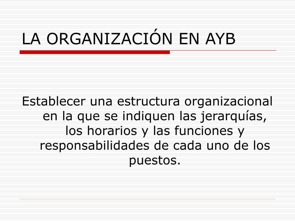 LA ORGANIZACIÓN EN AYB