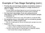 example of two stage sampling cont