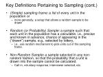 key definitions pertaining to sampling cont
