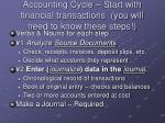 accounting cycle start with financial transactions you will need to know these steps