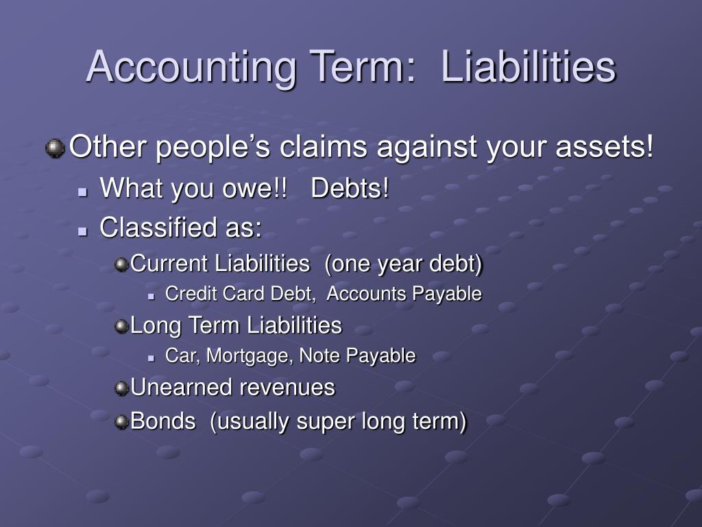 Accounting Term:  Liabilities
