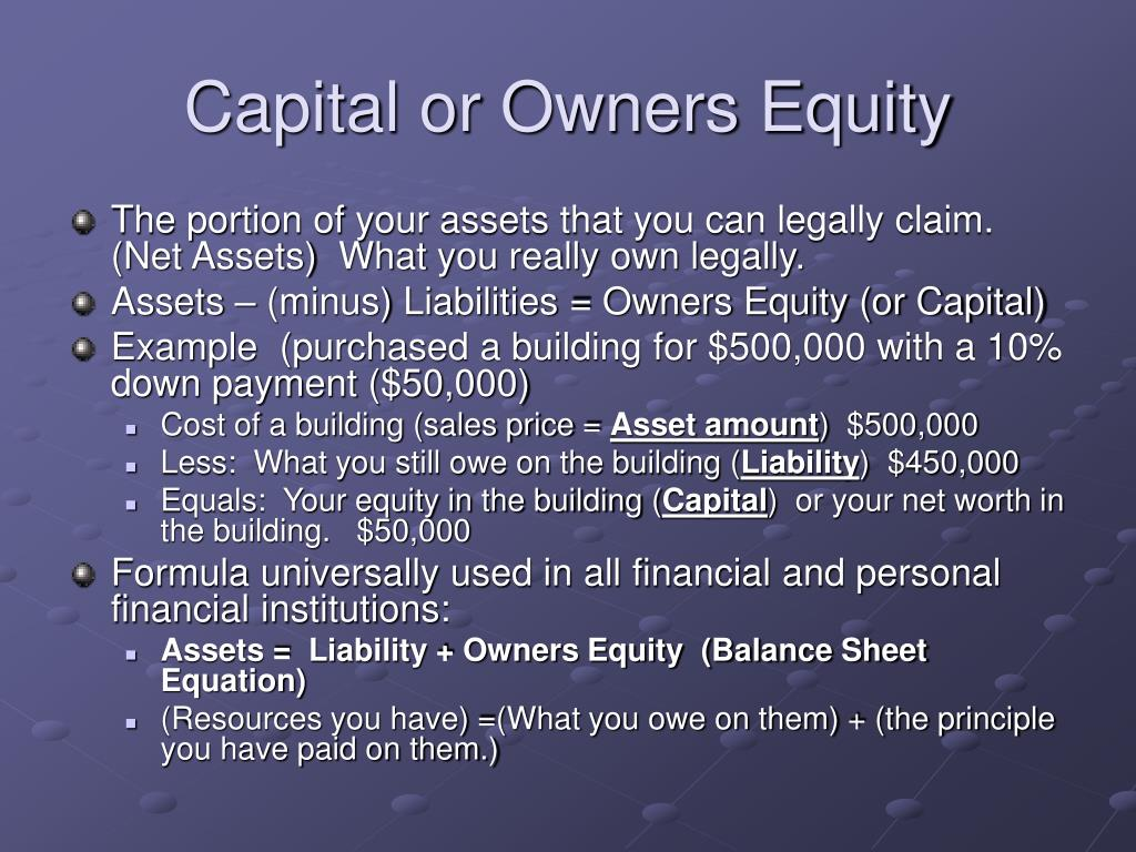 Capital or Owners Equity
