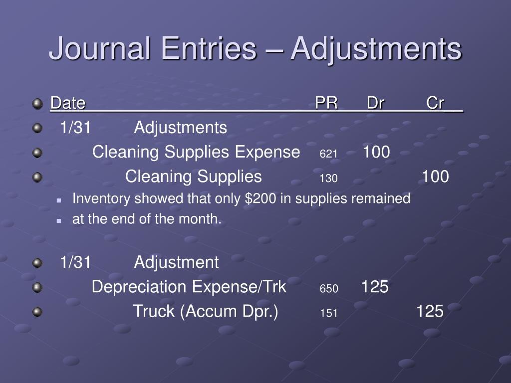 Journal Entries – Adjustments