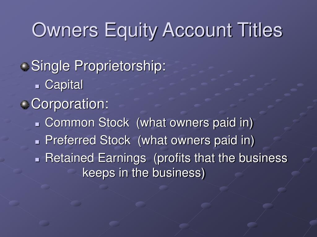 Owners Equity Account Titles