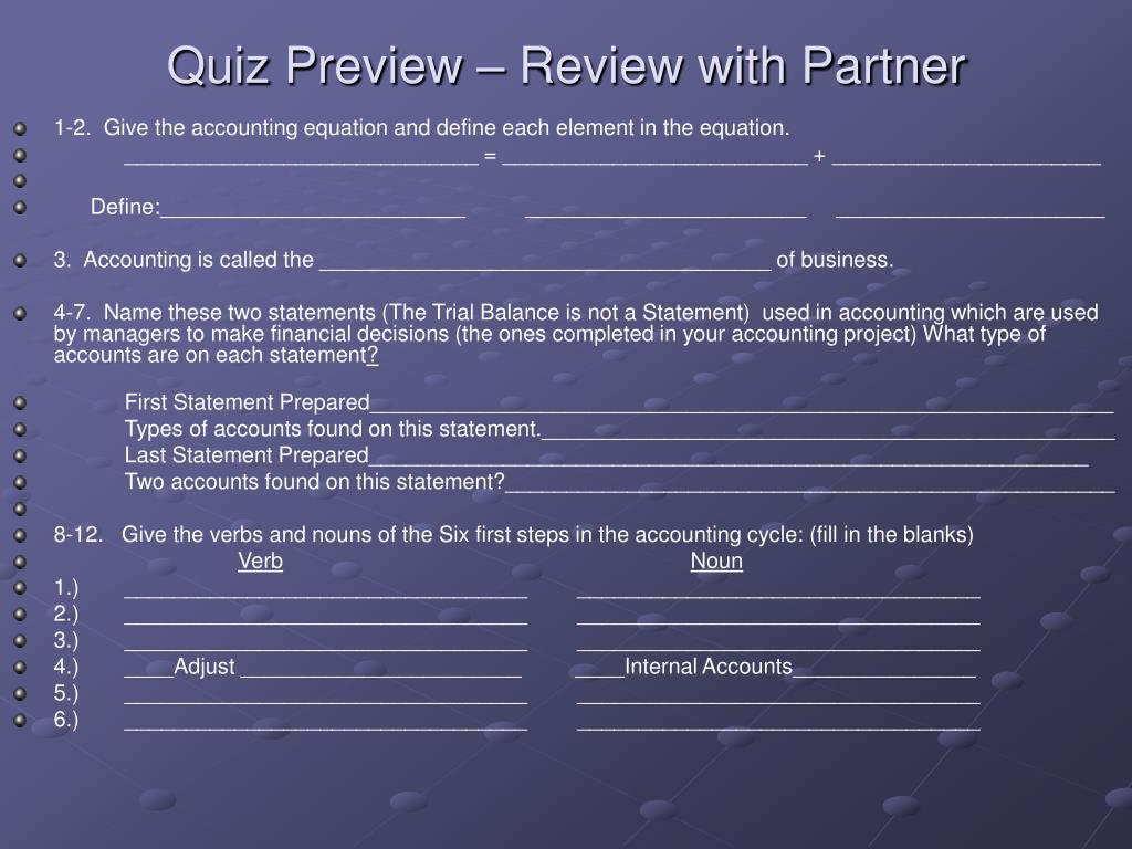 Quiz Preview – Review with Partner