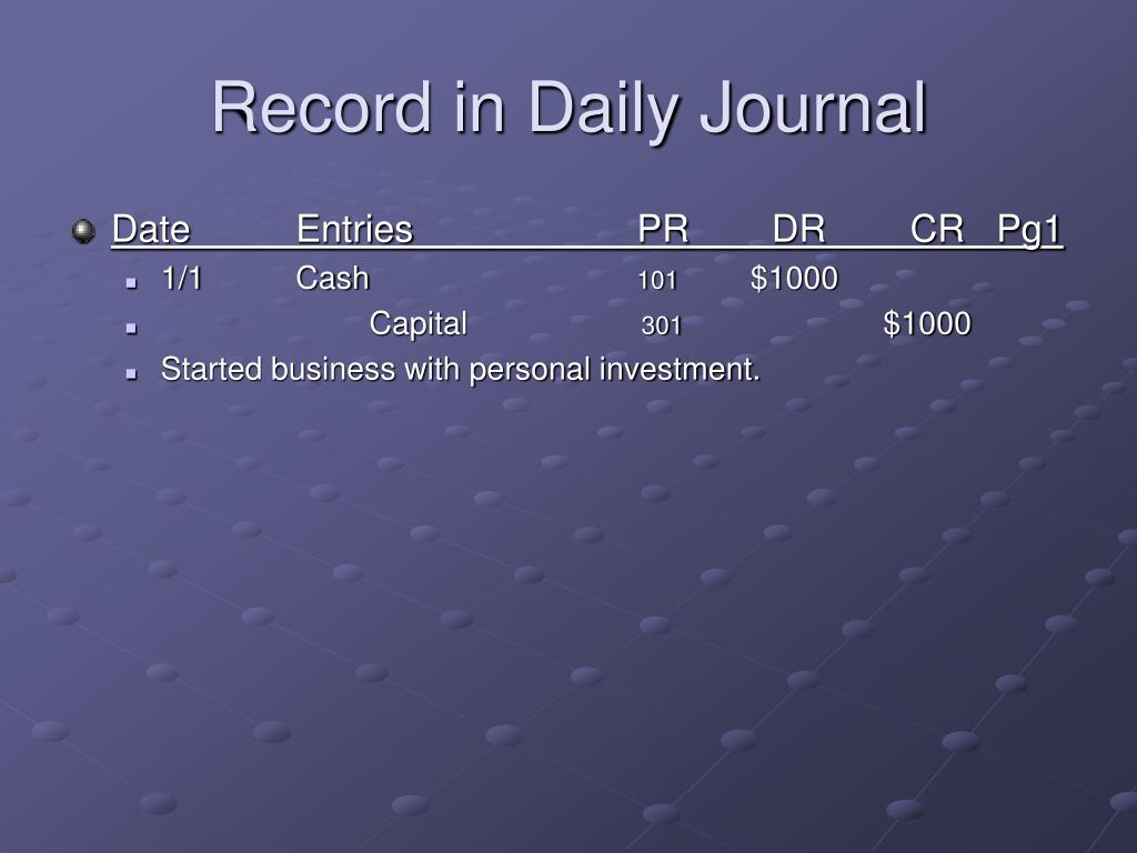 Record in Daily Journal