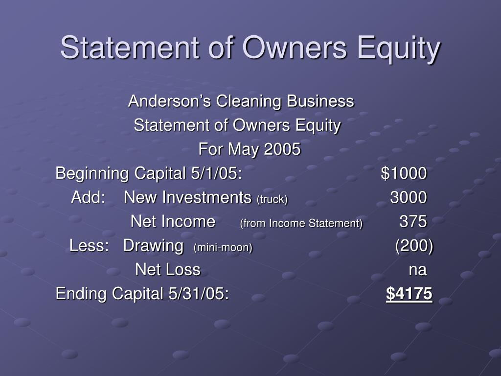 Statement of Owners Equity