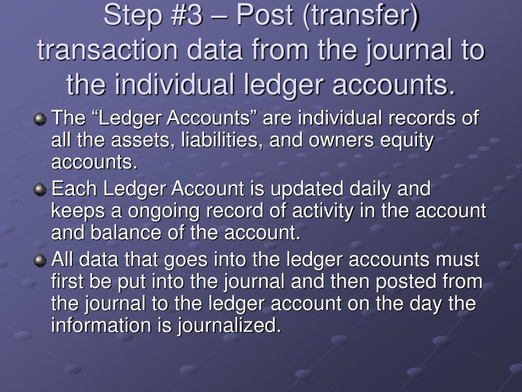 Step #3 – Post (transfer) transaction data from the journal to the individual ledger accounts.