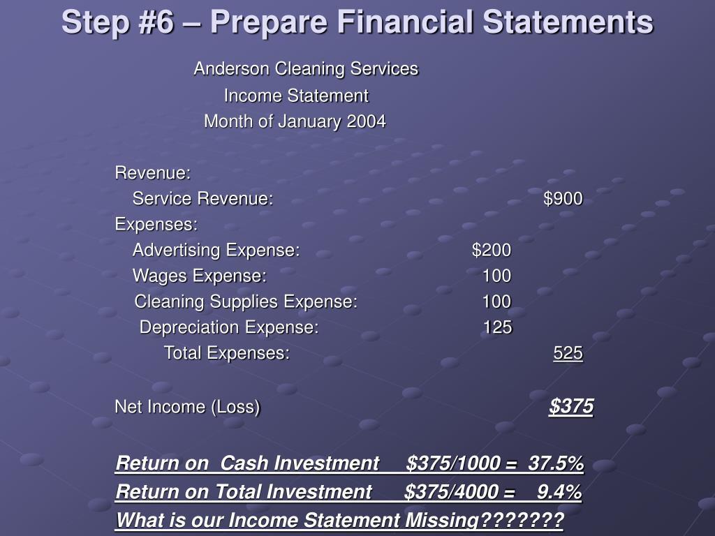 Step #6 – Prepare Financial Statements
