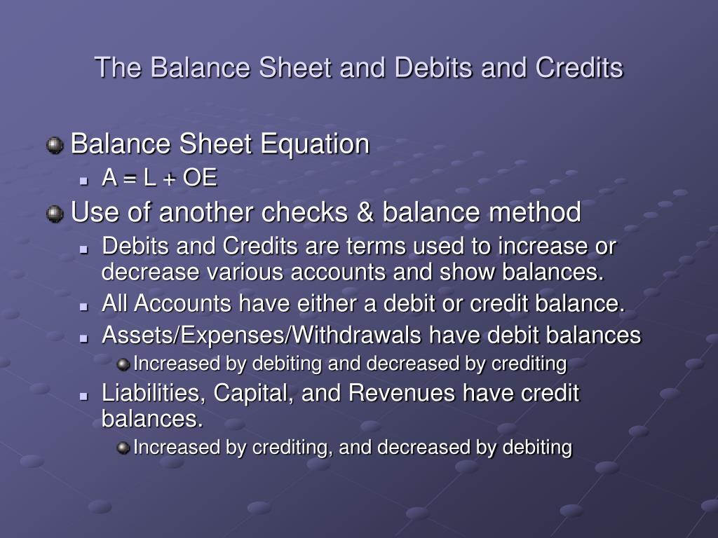 The Balance Sheet and Debits and Credits