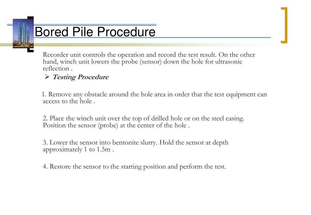 PPT - Bored Pile Procedure PowerPoint Presentation - ID:225033