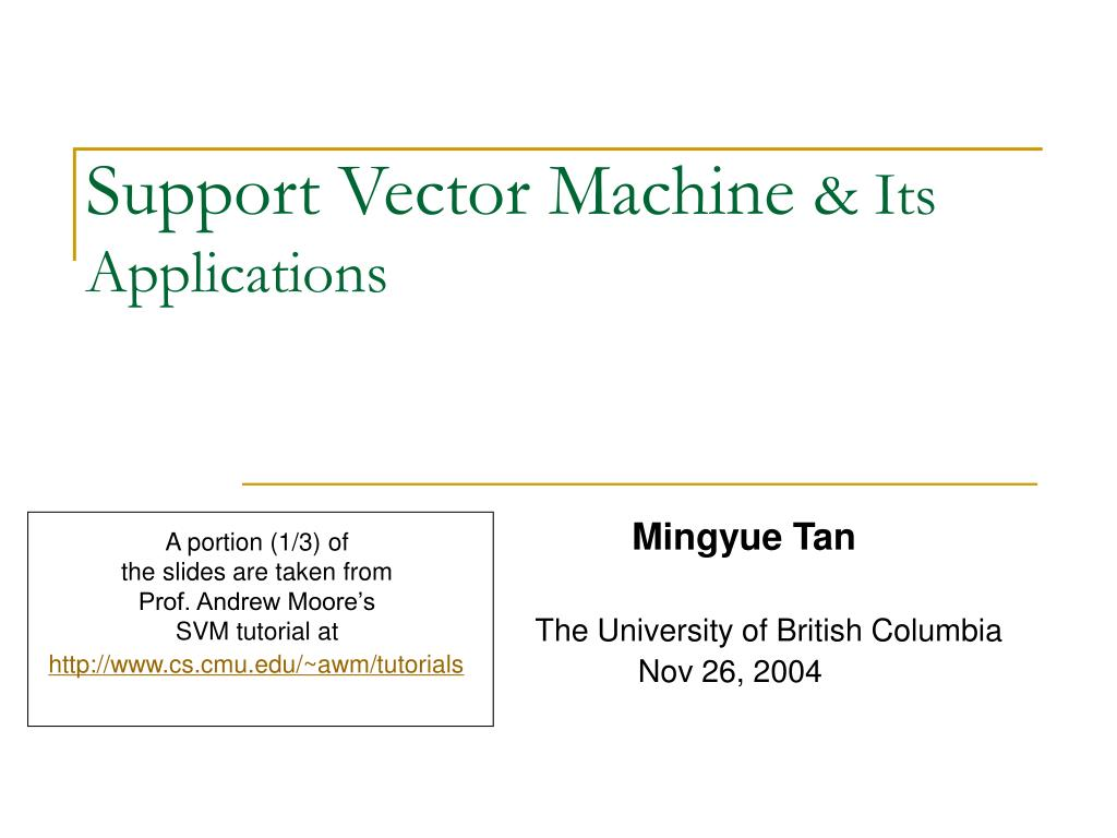 support vector machine its applications l.