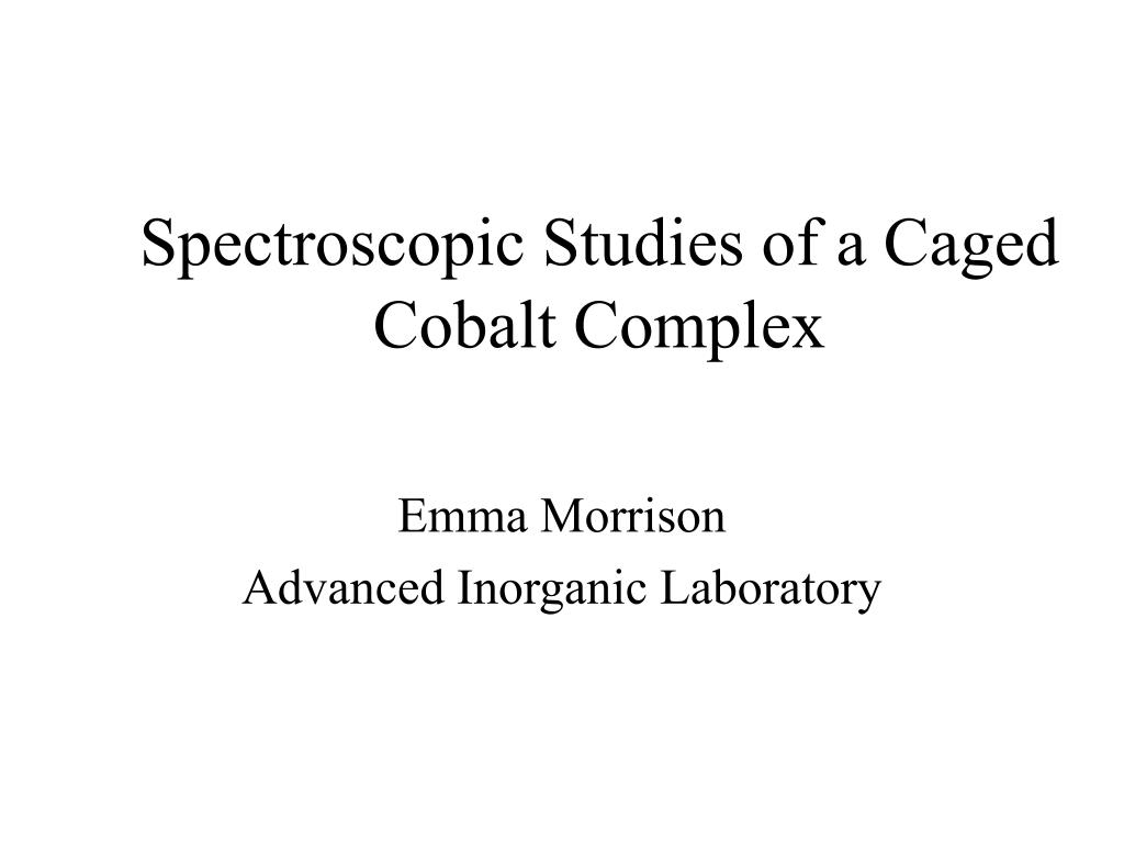 spectroscopic studies of a caged cobalt complex l.