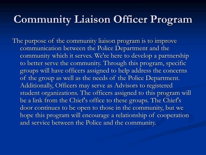 Community Liaison Officer Program