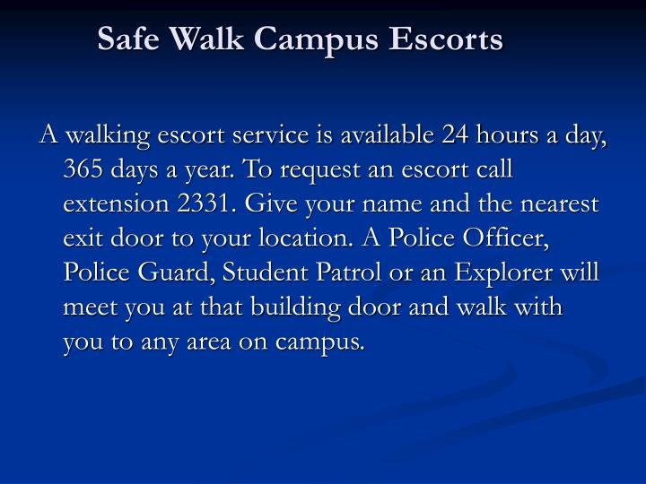 Safe Walk Campus Escorts