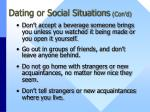 dating or social situations con d
