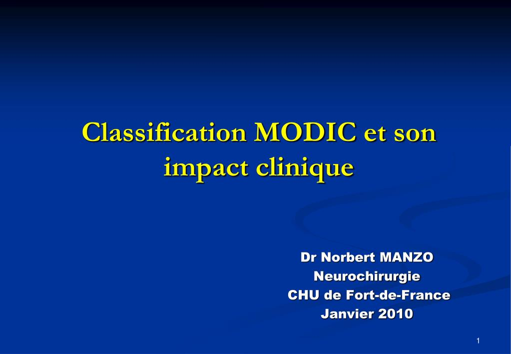 classification modic et son impact clinique l.