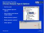 modal analysis procedure choose analysis type options