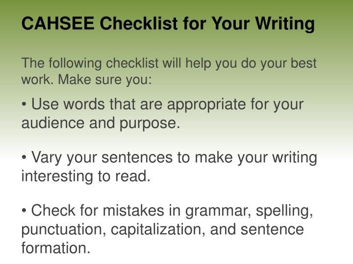 cahsee essay powerpoint Cahsee tests• day 1: english – 72 multiple choice • 45 reading and 27 writing –  1 essay  cahsee essaywriting an essay an essay is a piece of writing that is   data-driven presentations with excel and powerpoint 2016.