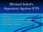 michael sokol s argument against ets