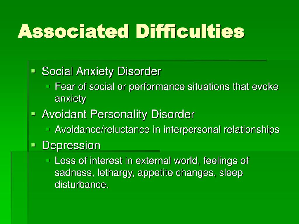 Associated Difficulties