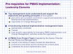 pre requisites for pmas implementation leadership elements