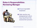 roles responsibilities reviewing manager