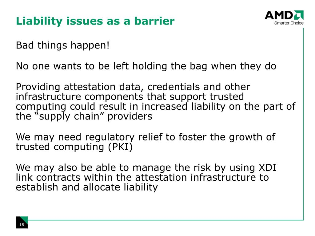 Liability issues as a barrier