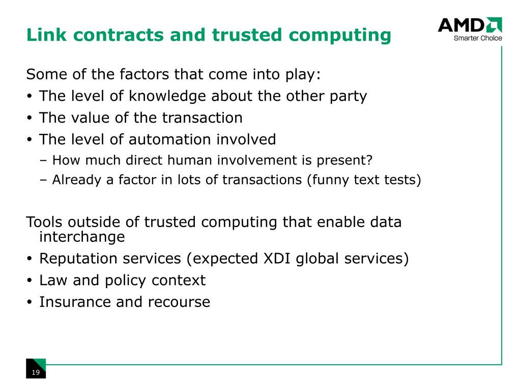 Link contracts and trusted computing