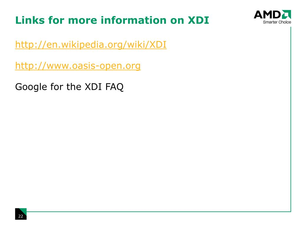 Links for more information on XDI