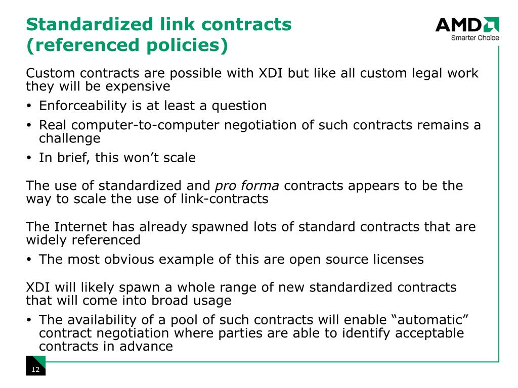 Standardized link contracts (referenced policies)