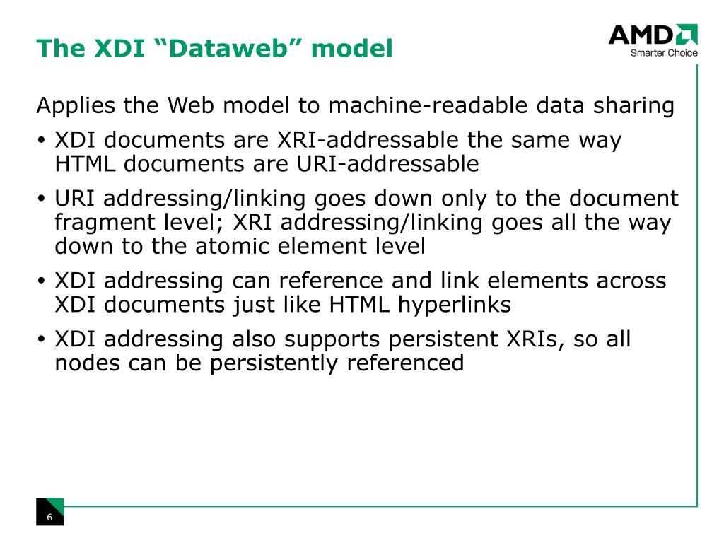 """The XDI """"Dataweb"""" model"""