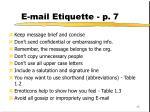 e mail etiquette p 7