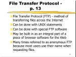 file transfer protocol p 13