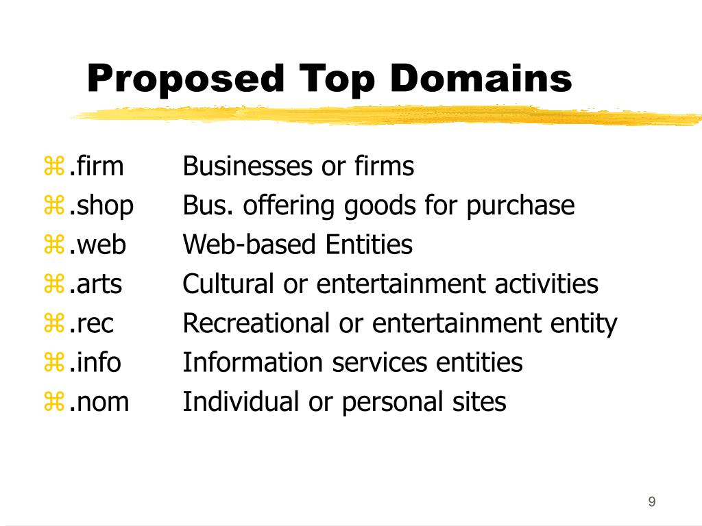 Proposed Top Domains