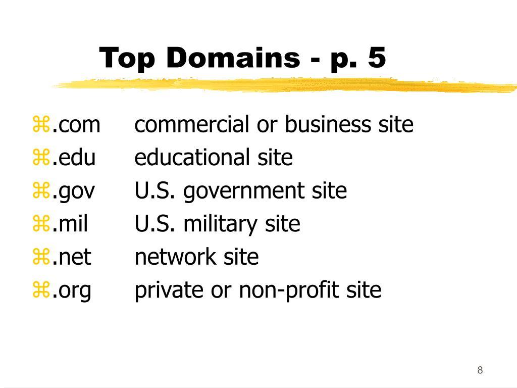 Top Domains - p. 5
