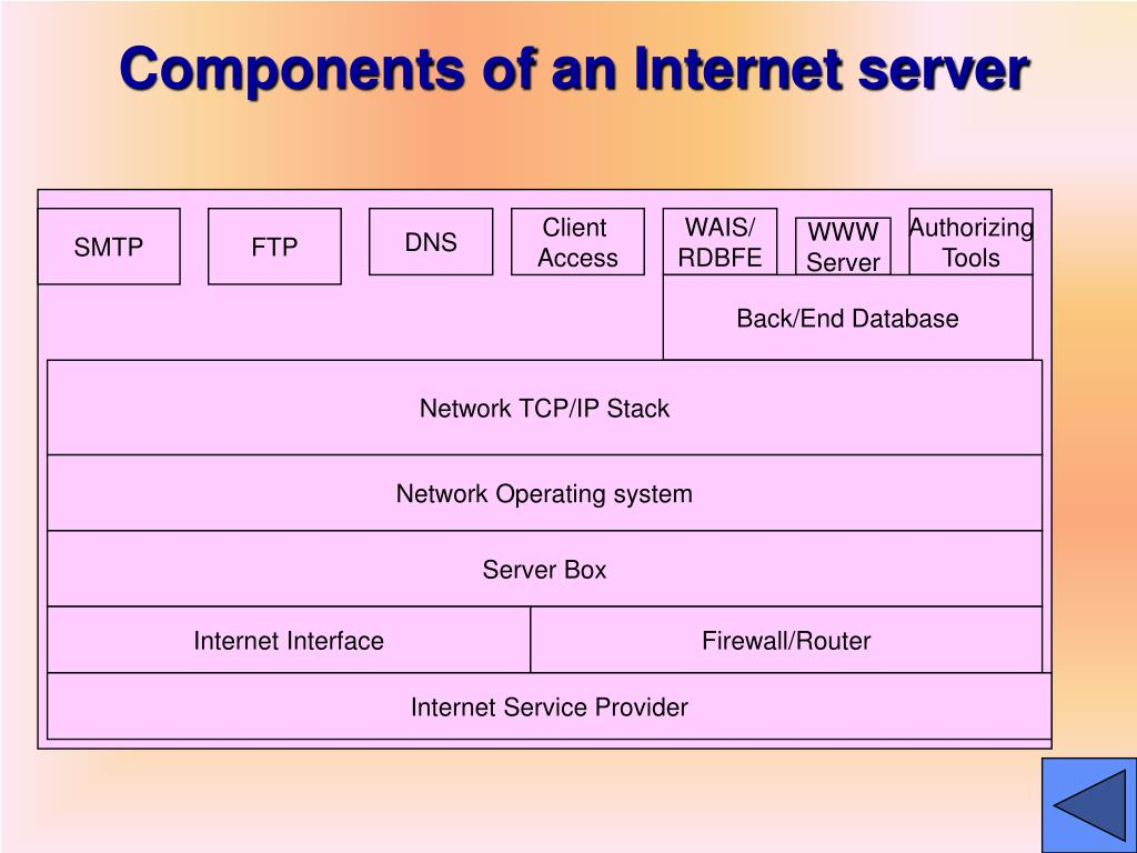 Components of an Internet server