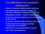 considerations for successful employment
