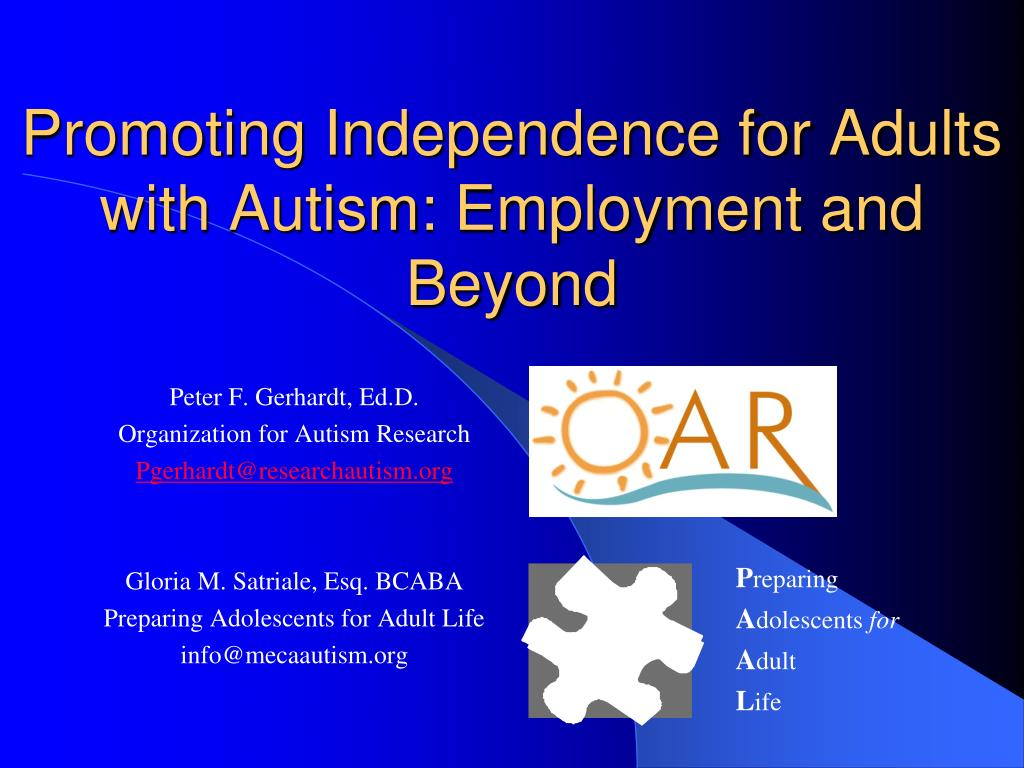 promoting independence for adults with autism employment and beyond l.